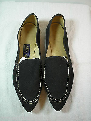 Vintage Black Canvas Pointed Toe Slippers Flats Adult Size 8 Costume Accessory