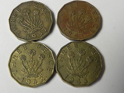 Great Britain, Threepence lot of 4, 1937, 41, 42, 43