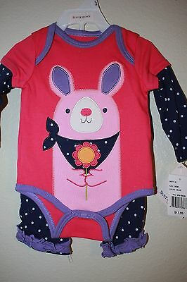 Nwt Buster Brown Baby Girls Size 0-3 Mos. Pink & Blue Bunny 2-Piece Outfit