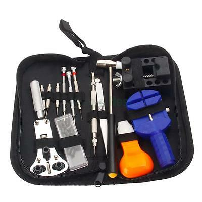 13PCS Watch Link Disassemble Repair Opener Remover Tool Set w/ Hammer Carry Base