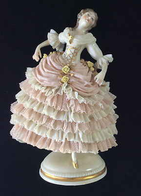 Exquisite Antique Akermann & Fritze Dresden Porcelain Lace Lady Dancer Figurine
