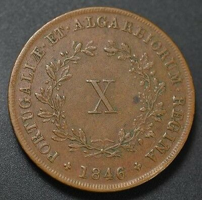 1846 Portugal 10 Reis Km #481 (Scarce this Nice) Catalog Value in XF $170
