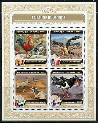 Togo  2016 Faune Of The World Sri Lanka Andorra United Arab Emirates  Sheet  Nh