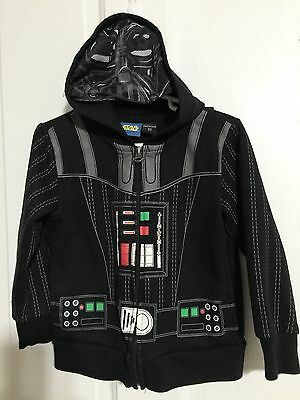 Star Wars Darth Vader Zip Up Hoodie  Size 3T Face Cover & Cape