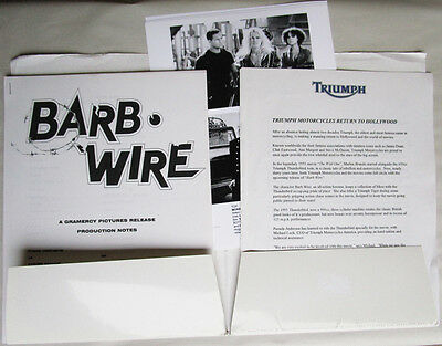 Barb Wire Pamela Anderson Triumph Thunderbird Motorcycle Press Kit Gramercy Film