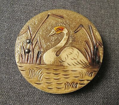 Vintage Decorated With A Swan In The Lake Celluloid Applique For Jewelry Making