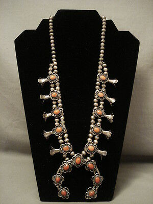 """Colossal Vintage Navajo """"""""natural Domed Coral"""""""" Silver Squash Blossom Necklace"""
