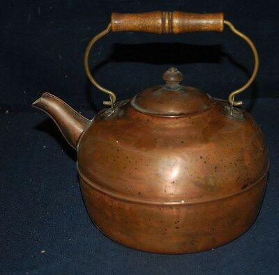 Rare Large Antique Solid Copper Kettle W/cover, Handle