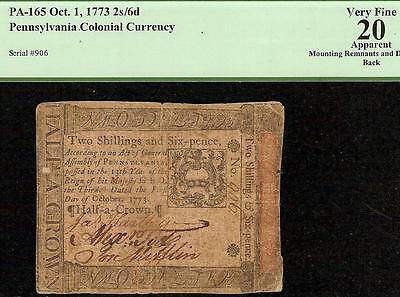 OCT 1, 1773 PENNFYLVANIA COLONIAL CURRENCY 2s/6d NOTE PAPER MONEY PCGS VF 20
