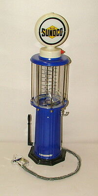 %  Blue Sunoco Lighted  Bubble Gum Gas Pump 21 Inches Tall