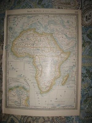 Superb Antique 1888 Africa Map Railroad Canal Red Sea Cape Colony Unknown Areas