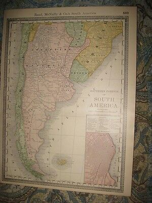 Antique 1888 Southern South America Map Patagonia Argentina Uruguay Buenos Aires