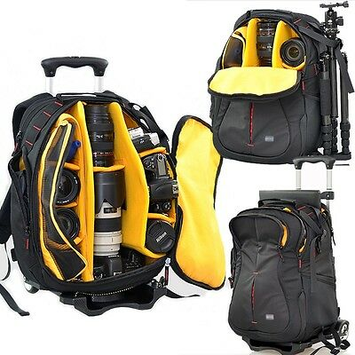 Professional Camera Backpack With Wheels DSLR SLR Travel Luggage Shoulders Bags