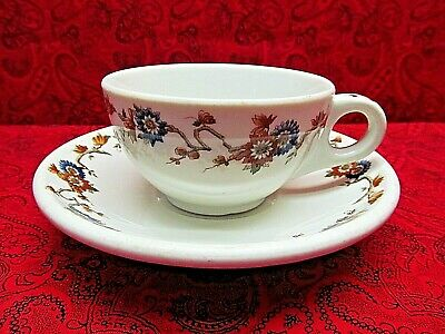 Rare Vintage Opco Syracuse China Oxford Cup & Saucer (Blue & Brown Flowers)