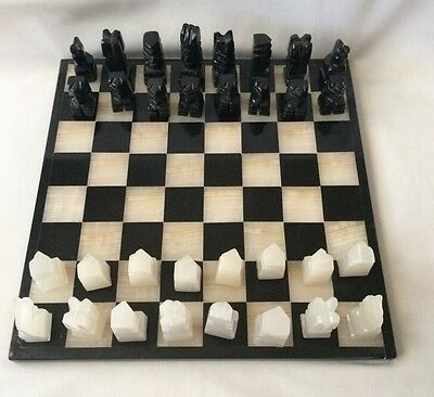 Handmade Marble or Onyx Chess Set 13 3/4 x 13 3/4 Board Aztec Style Mexico