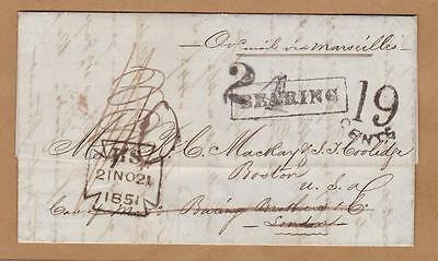 Straits Settlements 1851 Penang to USA pre-adhesive cover