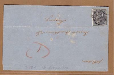 Straits Settlements Singapore 1862 QV 4a cover to Penang