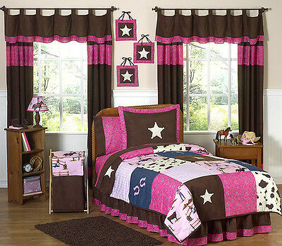 Sweeet Jojo Designs Western Horse Pink and Brown Girl Kids Twin Size Bedding Set