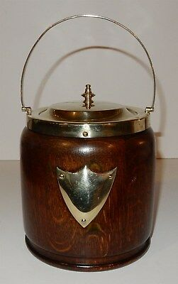 Antique / Vintage English Oak Biscuit Jar # 1of2 England