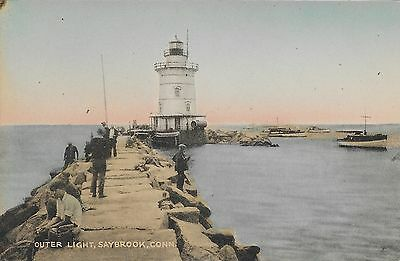 Outer Light Saybrook CT Connecticut 1910s-1930s Handcolored Collotype Postcard
