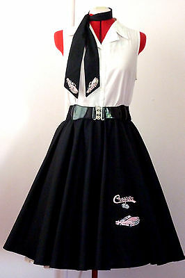 Rock N Roll Skirt & Scarf Black/ Pink Cadillac & Cruisin Applique  Size S/m  New