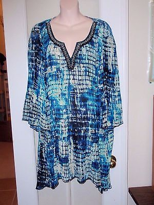 Womens Catherines Dress Evening Black Blue Blouse Shirt Top Bell Sleeve 2x  Plus