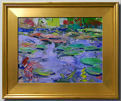 Jose Trujillo (Made To Order) Framed Oil Painting Modern Abstract Waterlilies