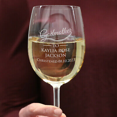 Engraved Godparents Christening and Baptism Wine Glass 360ml, Love, Cute, Baby