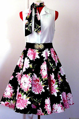 Rock N Roll/rockabilly Poodle Skirt & Scarf Black / Pink Flowers Size S/m New