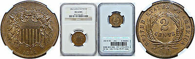 1864 Large Motto Two Cent Piece NGC MS-64 BN