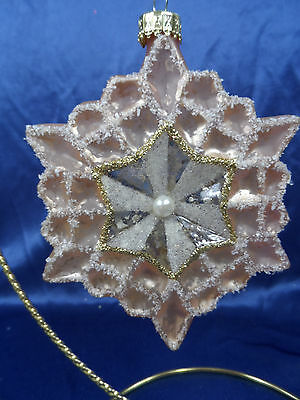 Peach and White Glittered Snowflake Christmas Tree Ornament new snow winter