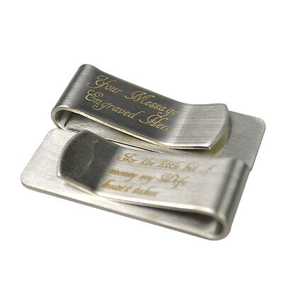 Personalised Engraved Stainless Money Clip Birthday Custom Wallet Card Holder