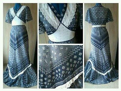 (L2) 1960/70s retro vintage navy broderie anglais seashell floral maxi dress 12