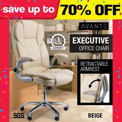 New AVANTE Executive Premium Office Chair Faux Leather Cream Retractable Armrest