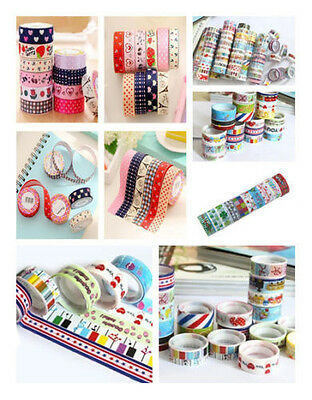 10Pcs Washi Tape 1.5 x 250 cm Roll Decorativo Adhesivo Papel Cinta Adhesivo
