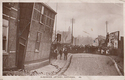 Subsidence Leftwich Northwich Antique Real Photo Postcard