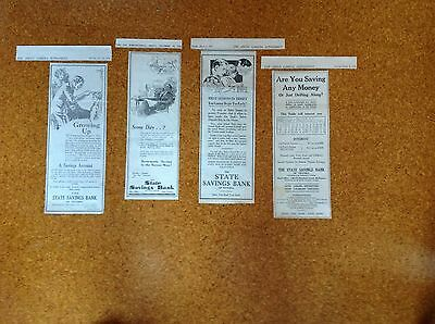 4 x Rare 1928/29/30 Original Adds for The State Savings Bank Of Victoria