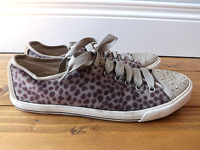 Next grey animal print/hair low top trainers with ribbon lace in size 8