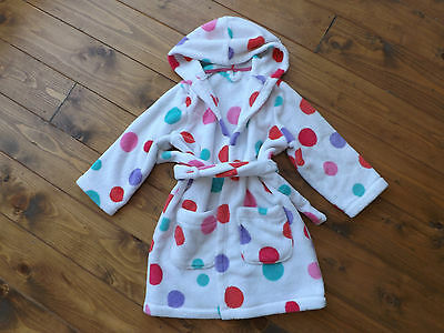 M&S white spotted toweling belted robe dressing gown in age 4-5 years