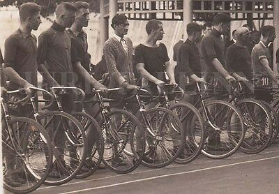 BICYCLES RACE Sportsmen with BICYCLES on Cycles Track Real PHOTO, LATVIA 1920s