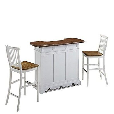 Home Styles 5002-998 Americana Bar and Two Stools White/Oak NEW