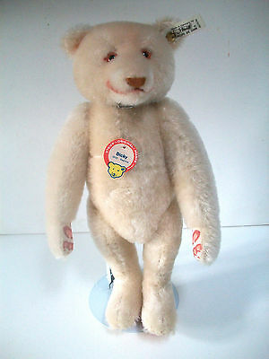 Vintage Steiff Dicky 1930S Replica Jointed Blond Hair Teddy Bear Stand 32Cm Tags