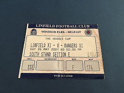 Linfield V Rangers Heroes Cup Ticket 2001