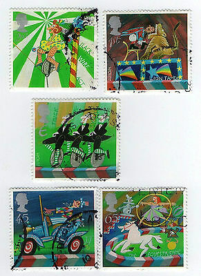 GB Stamps SG2275-2279, 2002 Circus. Multicoloured Full set Used Stamps