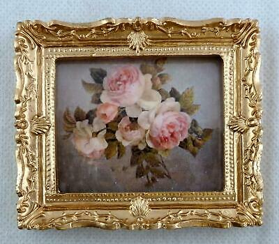 Dolls House Miniature Accessory Bunch of Pink Roses Picture Painting Gold Frame