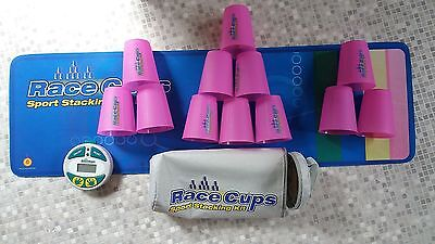 Stacking Race Cups Kit - Mat, 12 X Pink Cups & Timer. Vgc