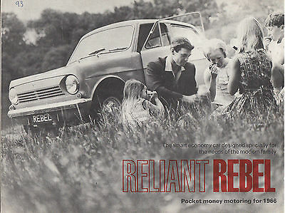 Reliant Rebel Pocket Money Motoring For 1966 Brochure.
