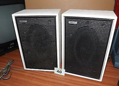 Pair of vintage FIDELITY stereo speakers for record player etc. - 1970's White