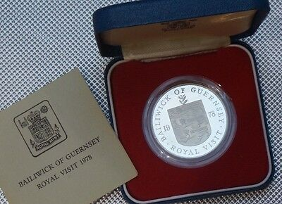 1978 Guernsey Silver Proof Crown Coin Royal Visit Cased & Coa