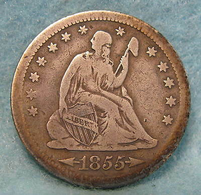 1855-S Seated Liberty Silver Quarter VG+ * Circulated US Coin #413